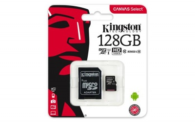 "Memóriakártya, microSDXC, 128GB, C10/U1, 80/10 MB/s, adapter, KINGSTON ""Canvas Select"""